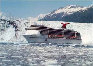 Carnival passengers get an up-close and personal view of a calving glacier